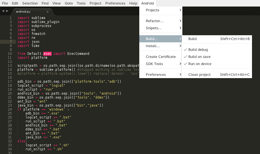 Sublime Text 3 Android plugin