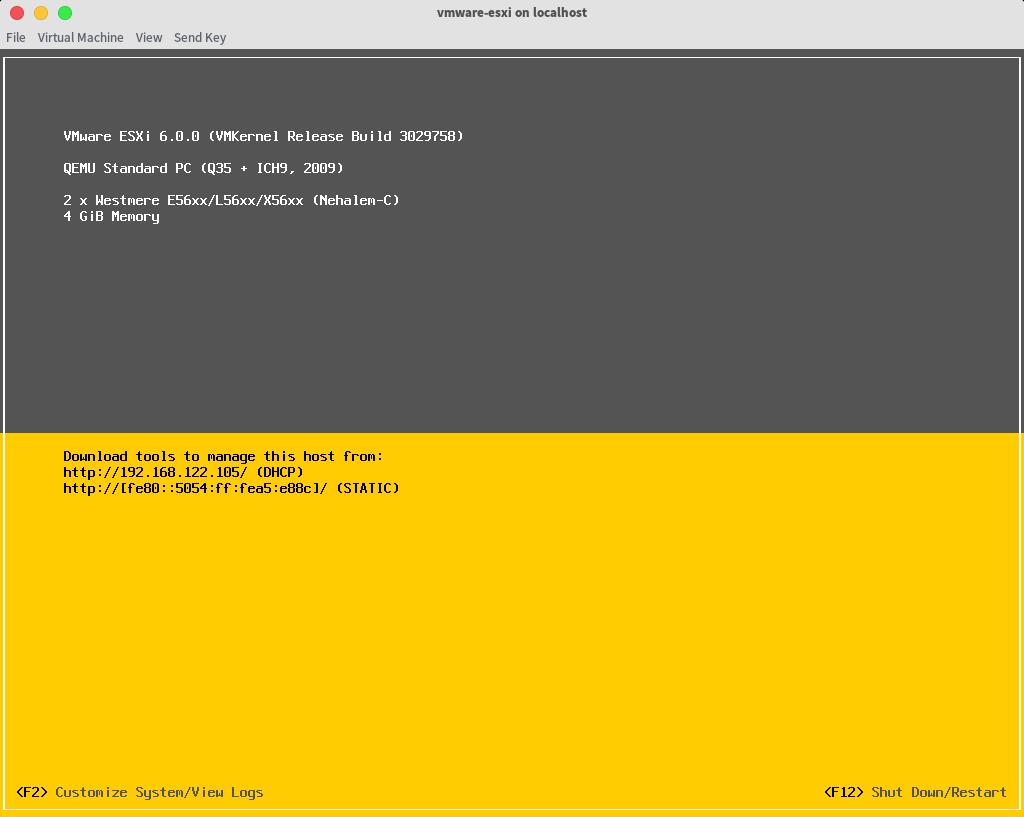 VMware ESXi running